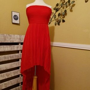 GUESS Red Crepe Hi-low Gown Size Large